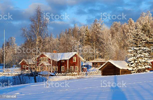Photo of Idyllic Red Swedish House against a winter forest