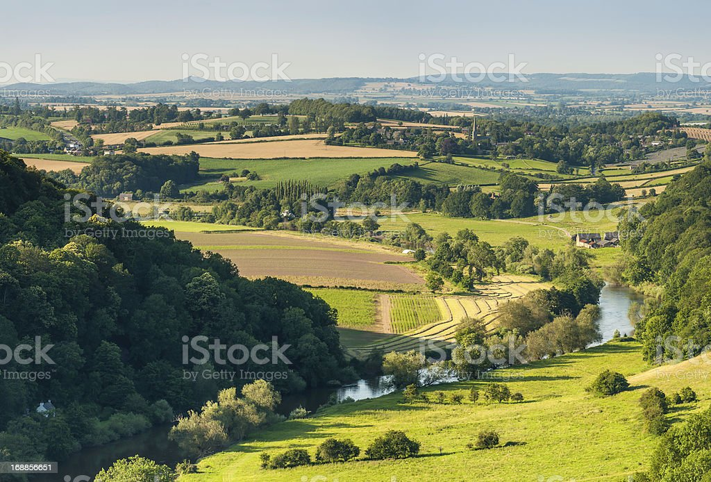 Idyllic river valley country villages summer fields stock photo