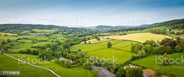 Photo of Idyllic rural, aerial view, Cotswolds UK