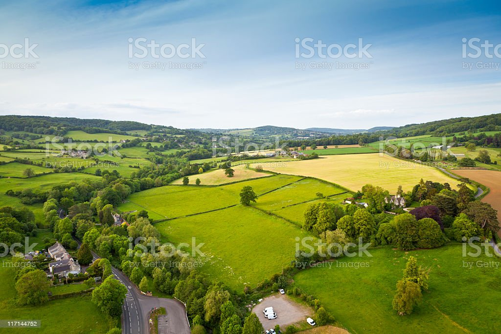 Idyllic rural, aerial view, Cotswolds UK stock photo