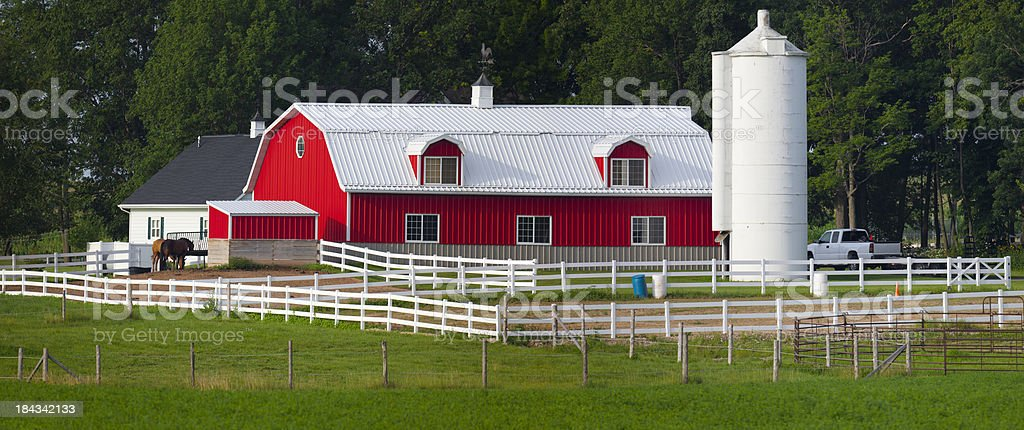 Idyllic Rural Farm With Horse Stable stock photo