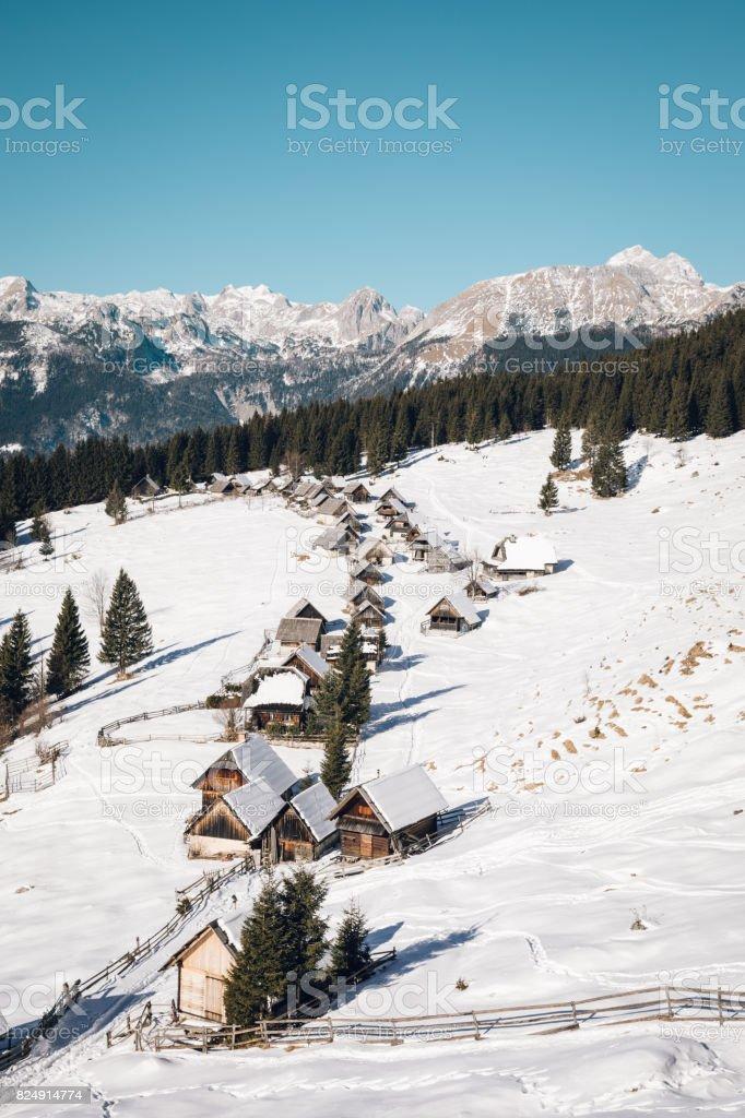 Idyllic Shepherd's Village In The Mountains stock photo