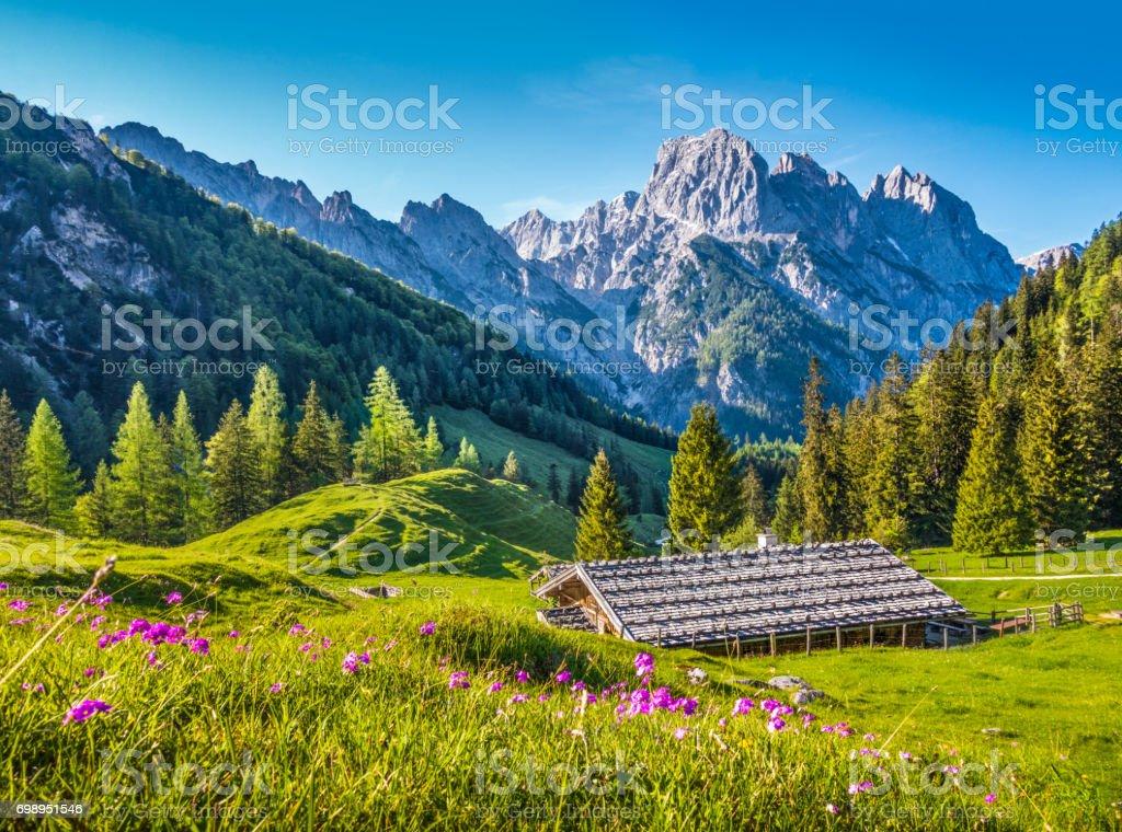 Idyllische Frühlingslandschaft in den Alpen mit traditionellen Berghütte bei Sonnenuntergang – Foto