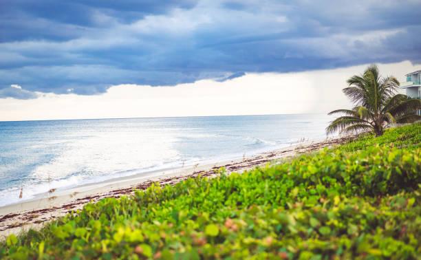 Idyllic stretch of scenic beach in Boca Raton Florida stock photo