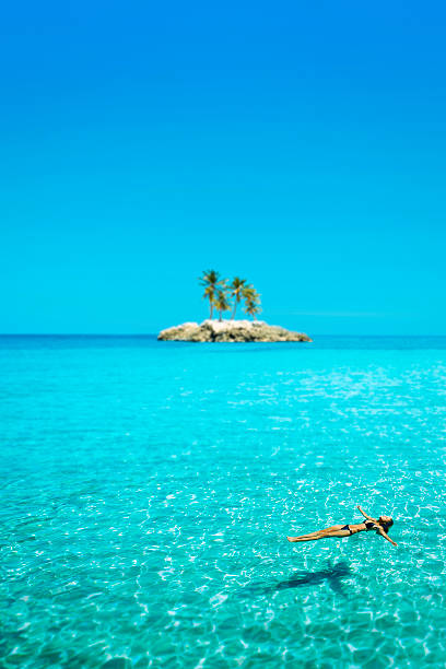 idyllic summer in paradise - desert island stock photos and pictures