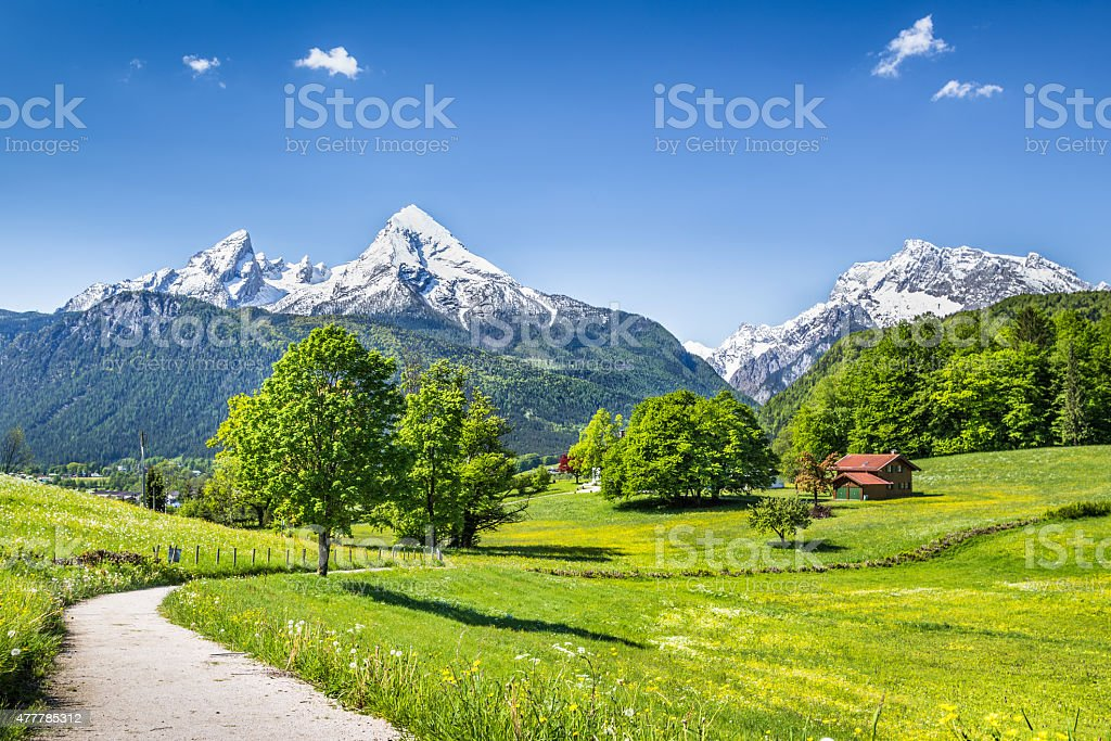 Idyllic summer landscape in the Alps with snowcapped mountain tops stock photo