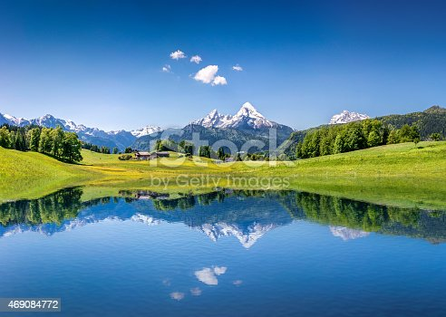 istock Idyllic summer landscape with mountain lake in the Alps 469084772