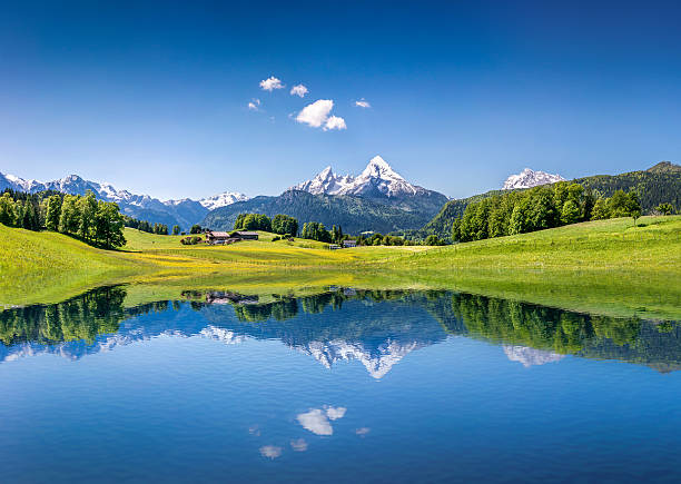 Idyllic summer landscape with mountain lake in the Alps Idyllic summer landscape with clear mountain lake in the Alps. bavarian alps stock pictures, royalty-free photos & images