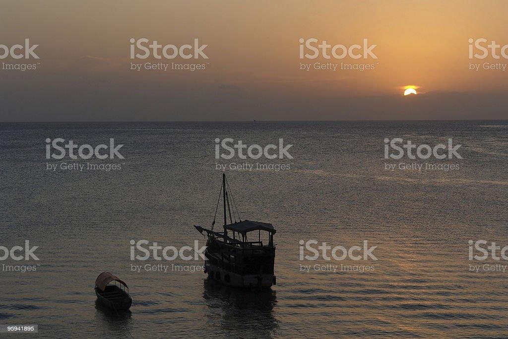 idyllic sundown in Zanzibar royalty-free stock photo