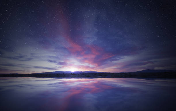 idyllic sunrise in the sky reflecting on water colorful sunrise in the cloudy sky reflecting on calm water twilight stock pictures, royalty-free photos & images