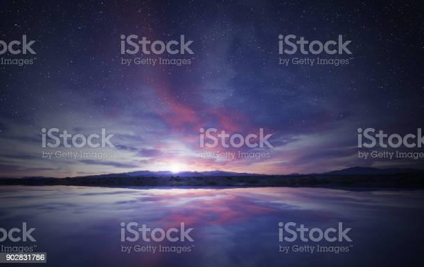 Photo of idyllic sunrise in the sky reflecting on water