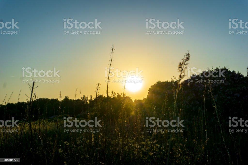 Coucher de soleil idyllique à Bornholm, Danemark sur un jour en été - Photo de Brillant libre de droits