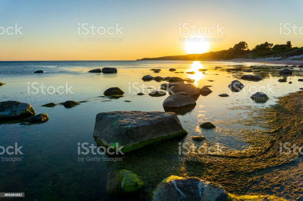 Idyllic sunset in Bornholm, Denmark on a day in summer zbiór zdjęć royalty-free
