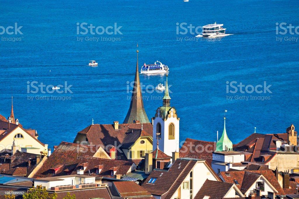 Idyllic Swiss Lake Luzerne Waterfront View Landscapes Of