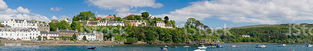 Idyllic town harbor panorama royalty-free stock photo