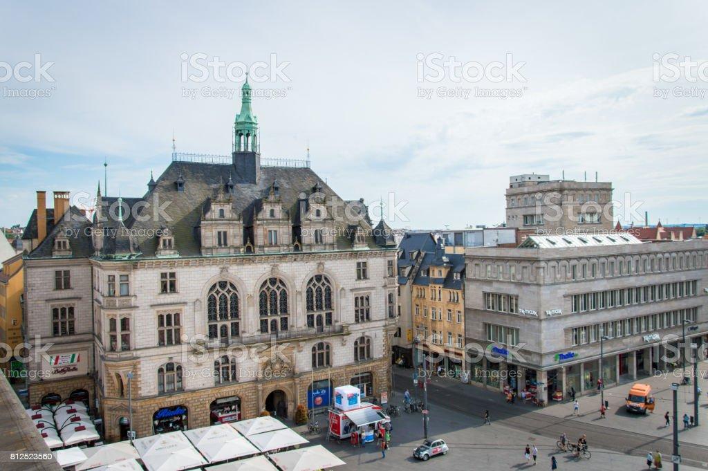 Idyllic Town Square of German city Halle, Germany stock photo