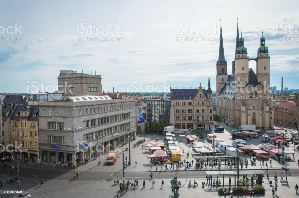 Idyllic Town Square of German city Halle, Germany stock photo