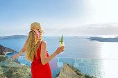 Idyllic travel & woman with pina colada