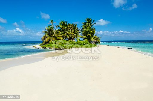 Small tropical island on the Belize barrier reef, Caribbean sea.