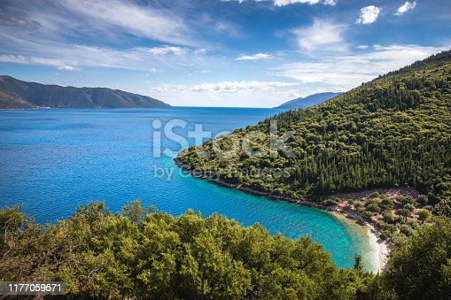 View from above on idyllic turquoise beach in Kefalonia island, Greece (Horgota).