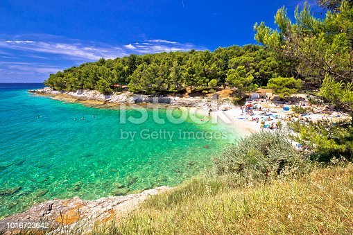 Idyllic turquoise beach in Pula summer view, blurred people, Istria region of Croatia