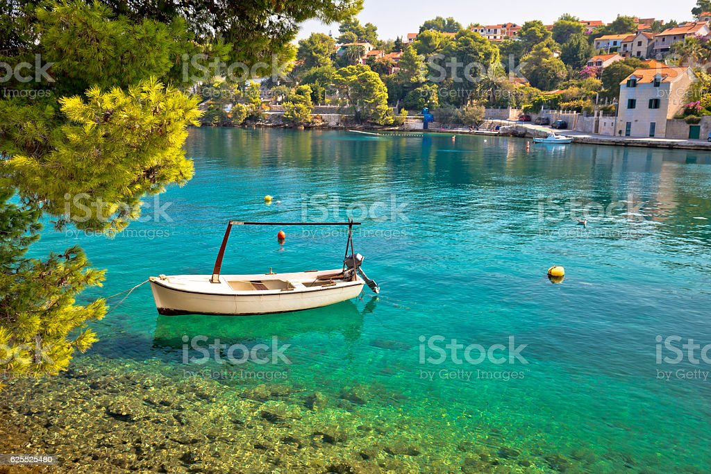 Idyllic turquoise beach in Splitska stock photo