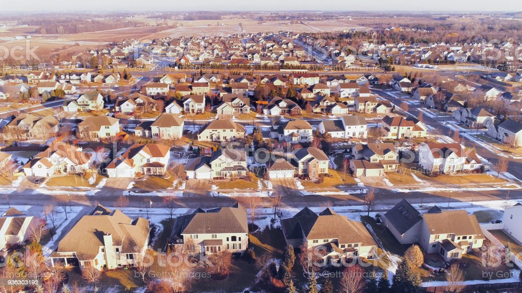 Idyllic upper middle class neighborhood in Winter, Aerial view. stock photo