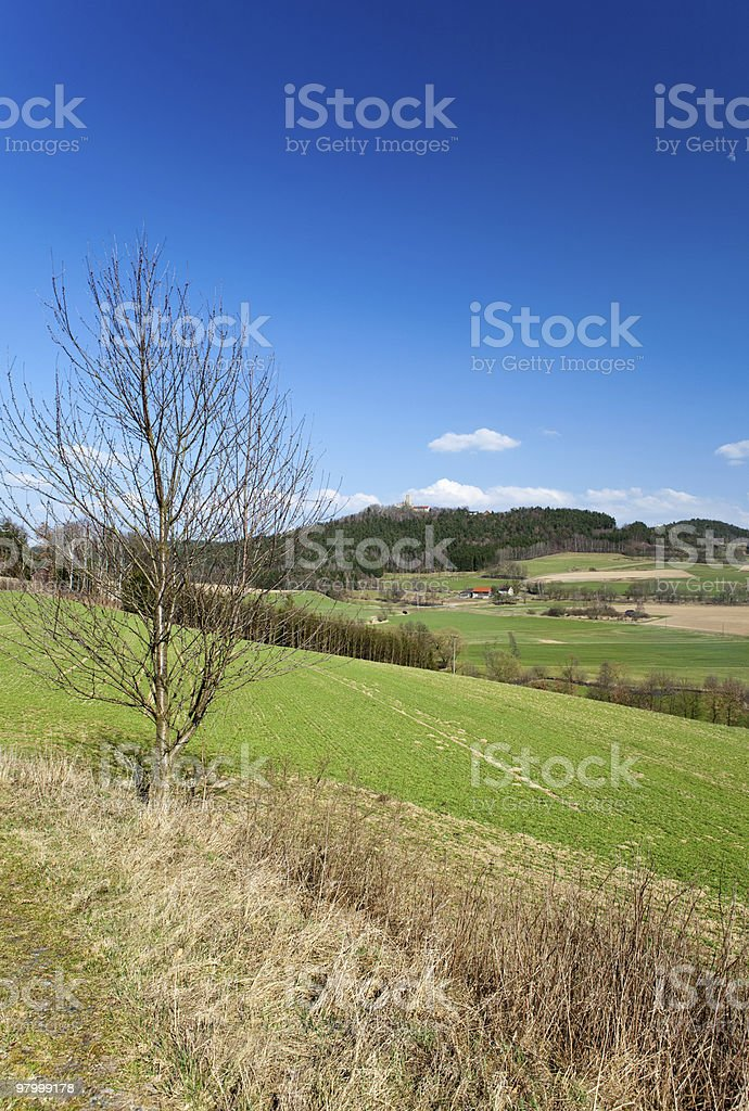 Idyllic valley in spring royalty free stockfoto