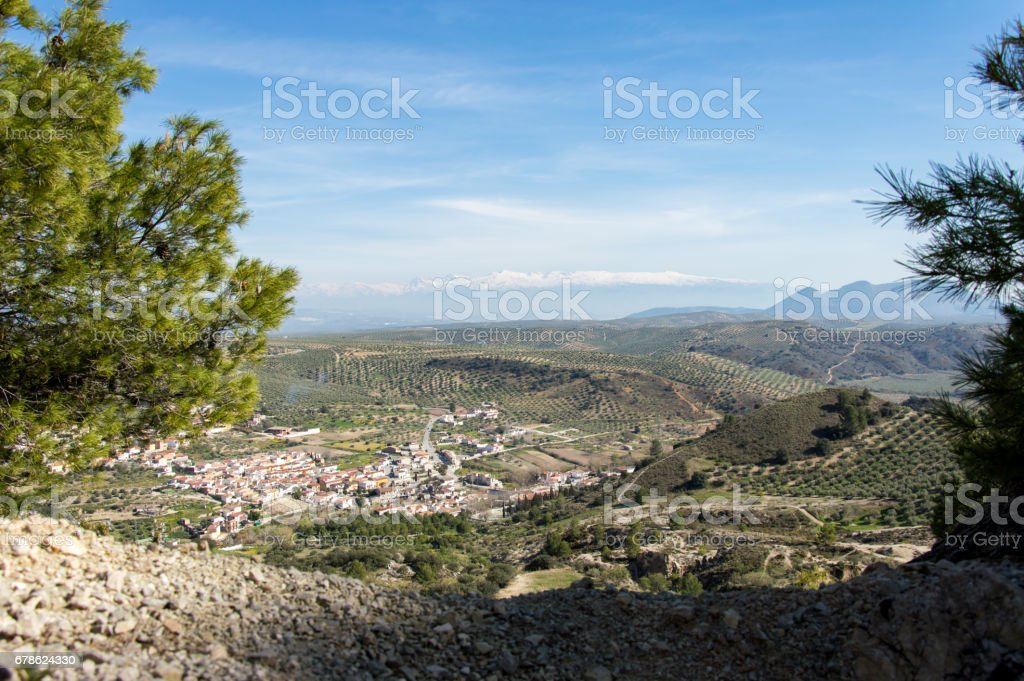 Idyllic view of a mountain village during springtime, captured in Andalusia, Spain stock photo