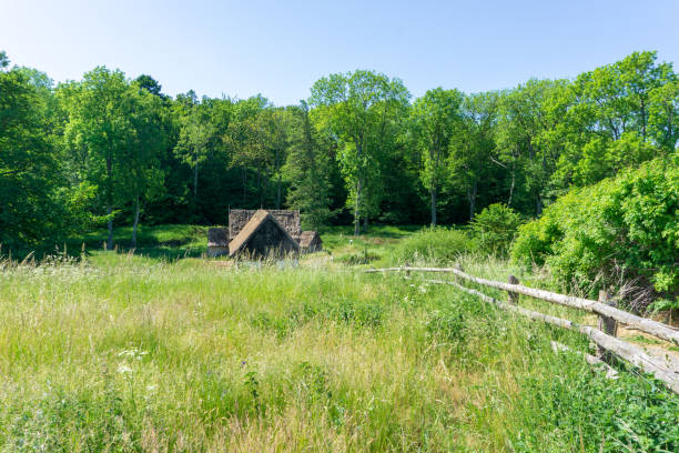Idyllic view of an abandoned watermill, Bornholm, Denmark on a day in summer stock photo