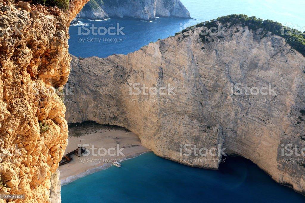 Idyllic view of beautiful Navagio Beach on Zakynthos Island in Greece stock photo