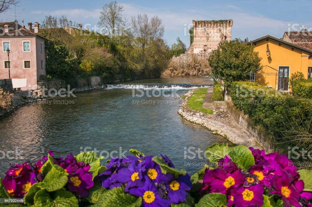 Idyllic view of Borghetto sul Mincio medieval village in Veneto, Italy stock photo