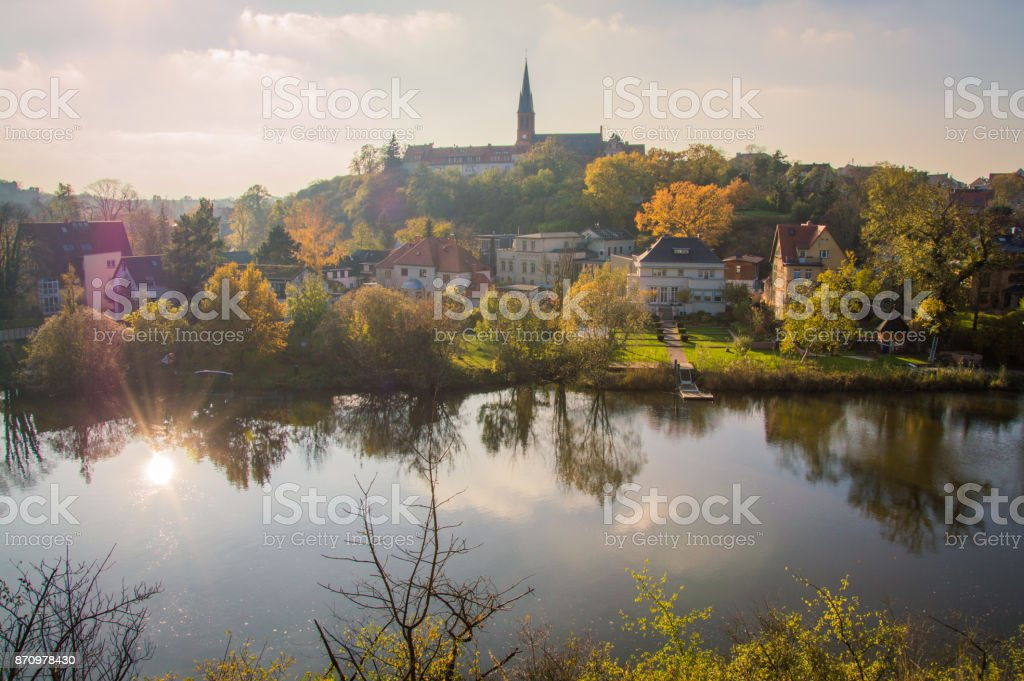 Idyllic view of Halle (Saale), Germany, on a day in Autumn stock photo