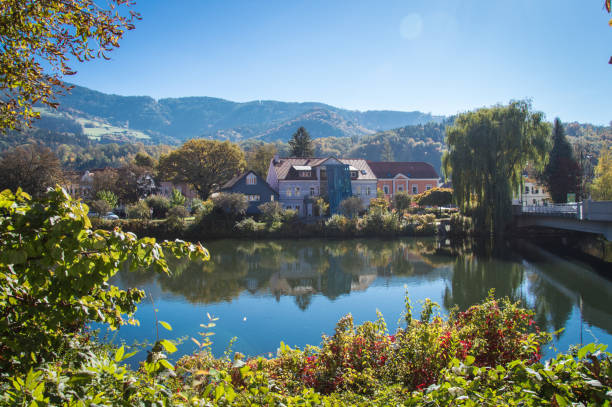 Idyllic view of river Mur on a day in autumn, Styria, Austria stock photo