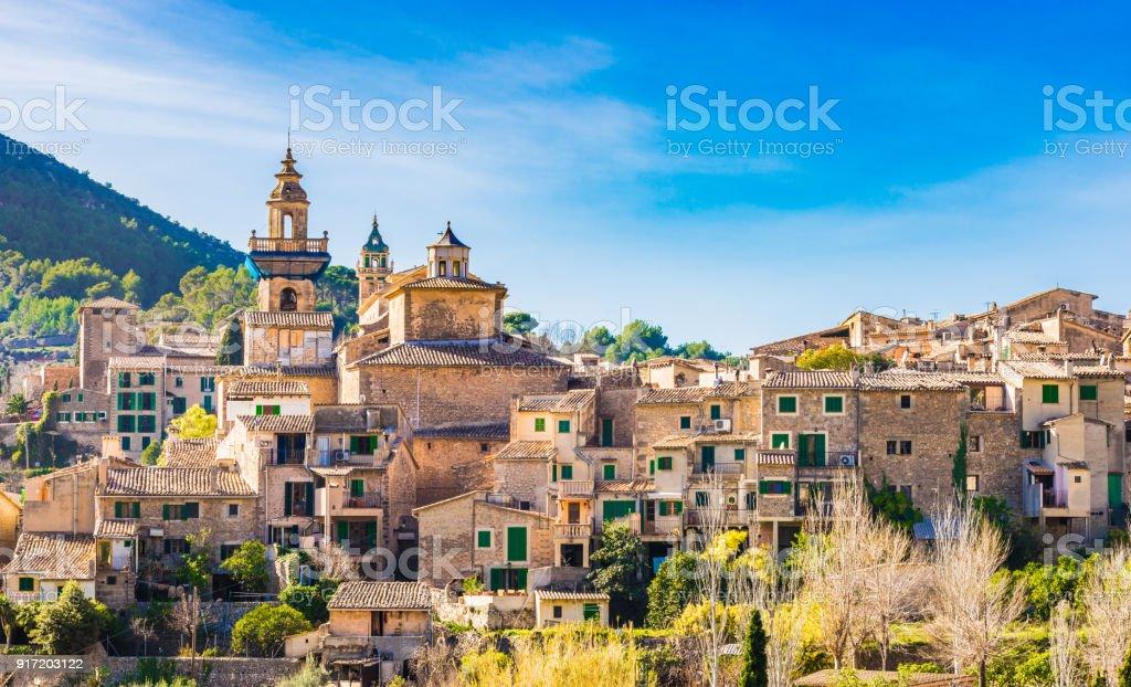 Idyllic view of Valldemossa in the Serra de Tramuntana mountains on Mallorca, Spain Balearic islands stock photo