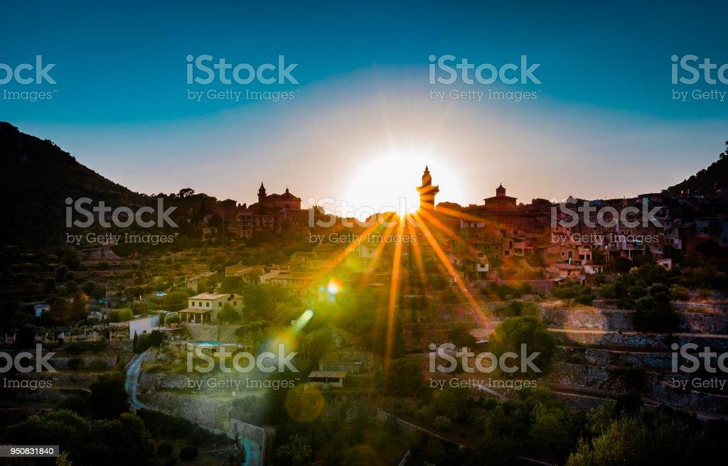 Idyllic view on Majorca island, beautiful mediterranean village of Valldemossa at sunset stock photo