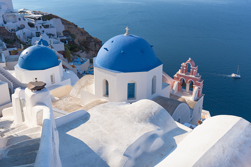 Idyllic View On Traditional Church Rooftops Of Santorini Stock Photo - Download Image Now