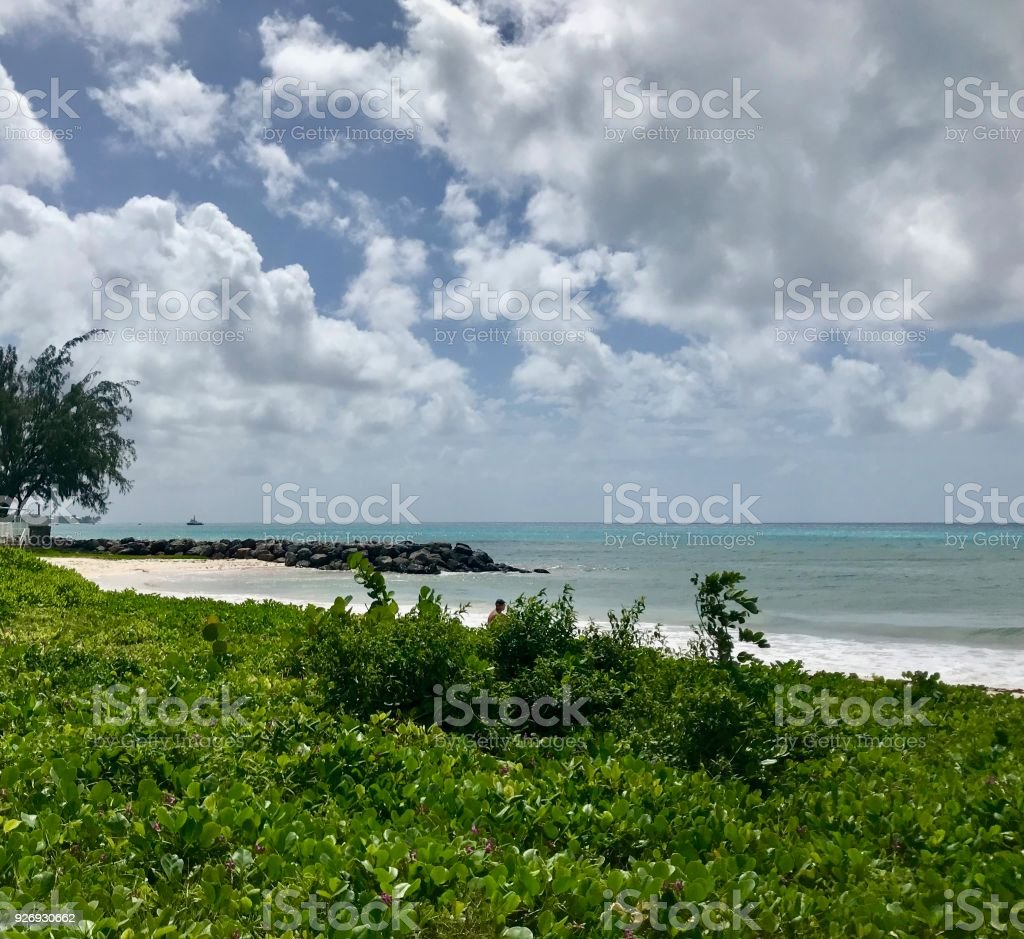Idyllic Welches Beach in Oistins, Barbados (Caribbean island) with stones, sand and waves stock photo