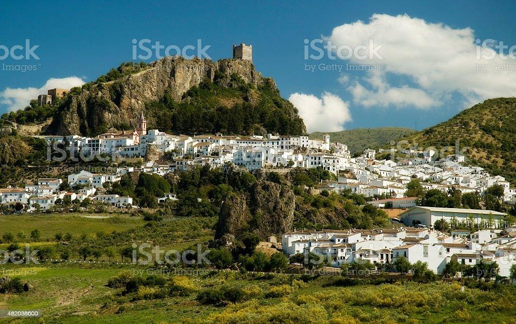 Idyllic white town Zahara near lake, Pueblos Blancos, Andalusia, Spain stock photo
