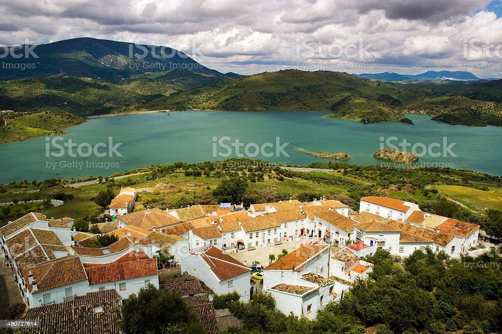 Idyllic white town Zahara, Pueblos blancos, Lake Zahara, Andalusia, Spain stock photo