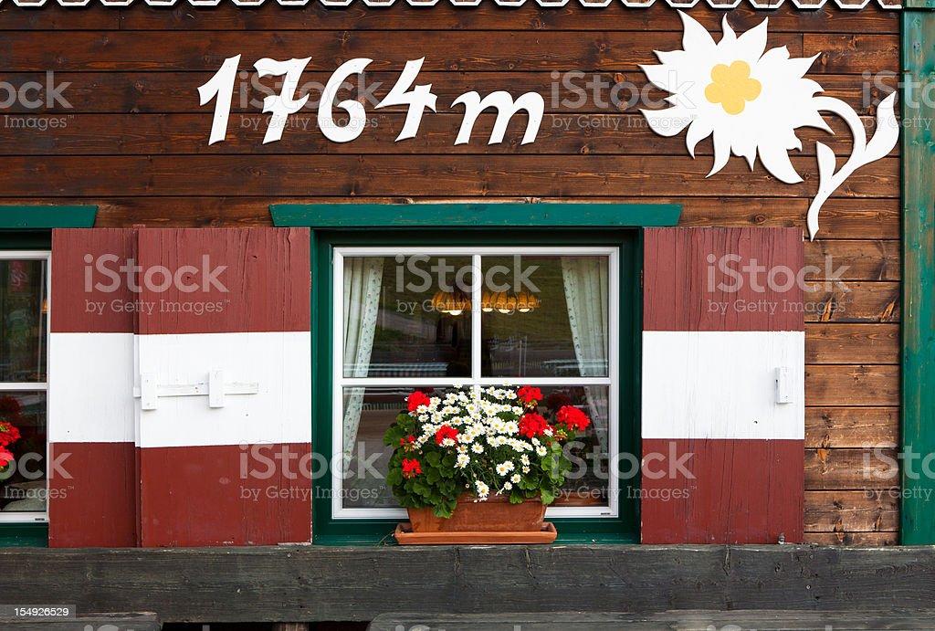 idyllic window of a hut in tirol, austria stock photo