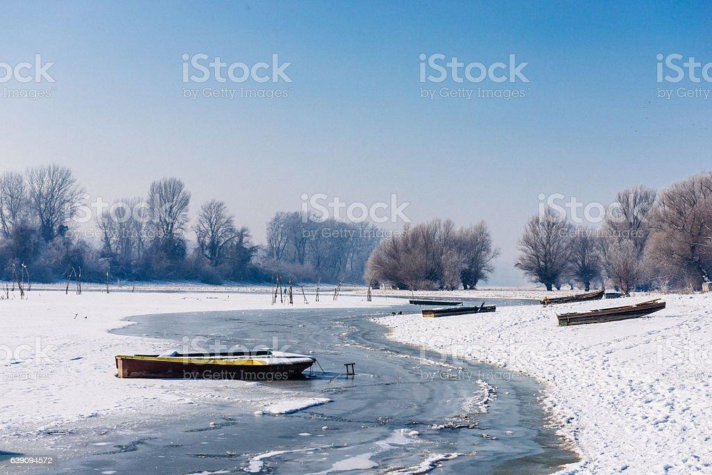 Idyllic winter landscape in nature on frozen Danube river stock photo