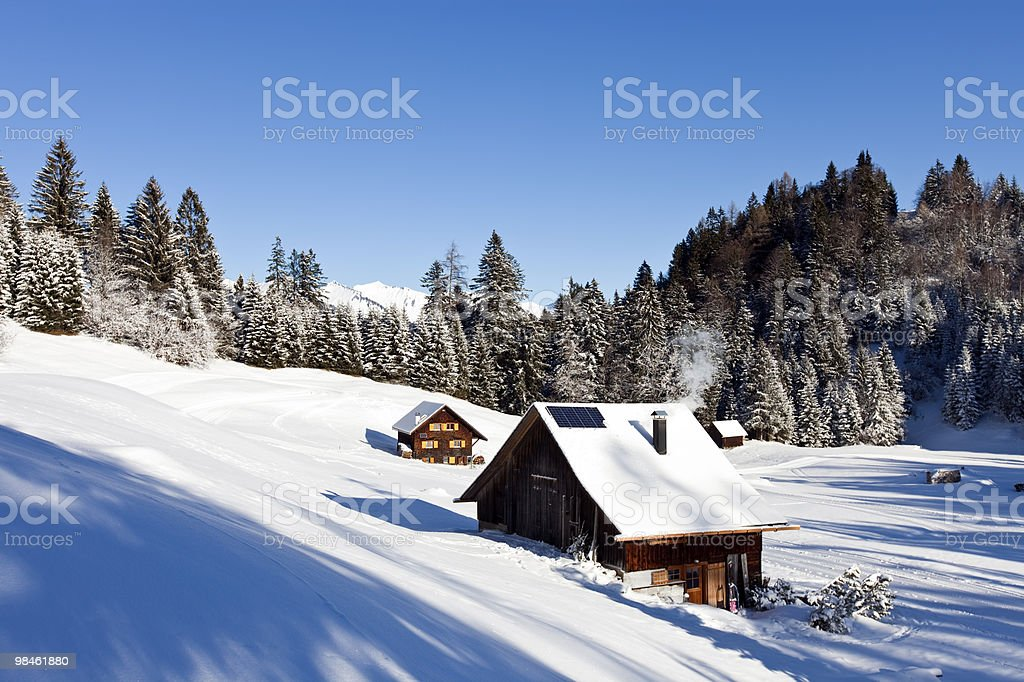 idyllic winter landscape in the alps royalty-free stock photo