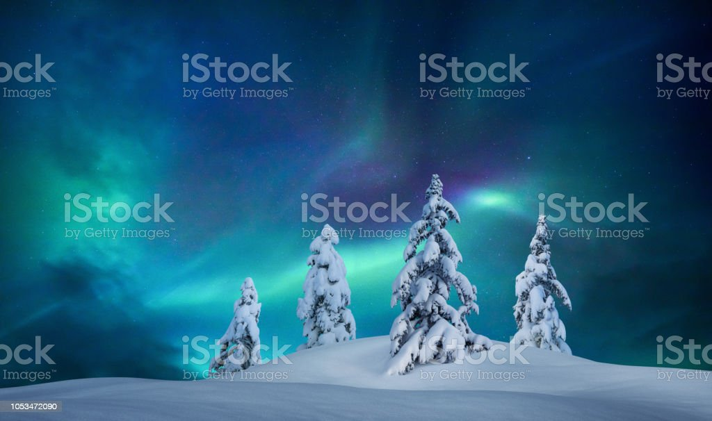 Idyllische Winternacht – Foto
