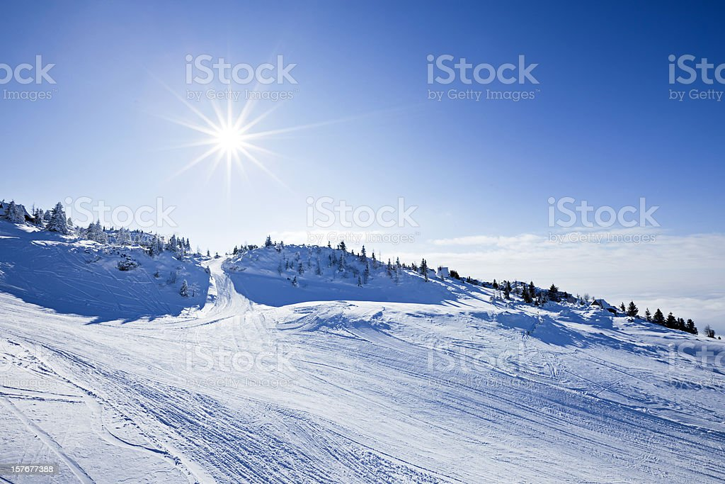 Idyllic winter ski resort royalty-free stock photo