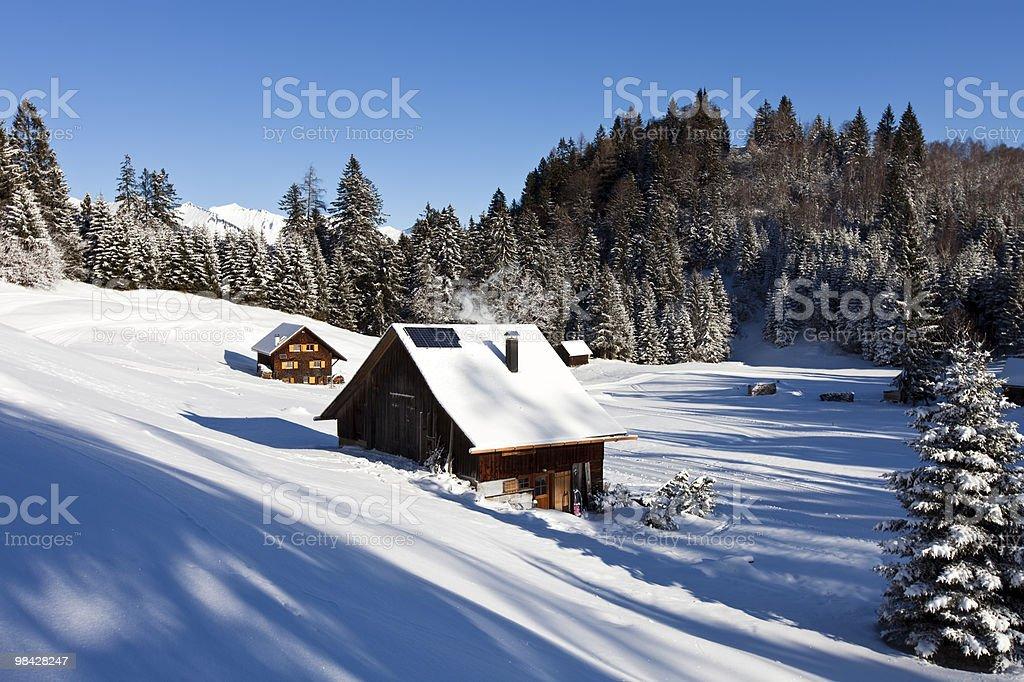 idyllic winter snow landscape in the austrian alps royalty-free stock photo