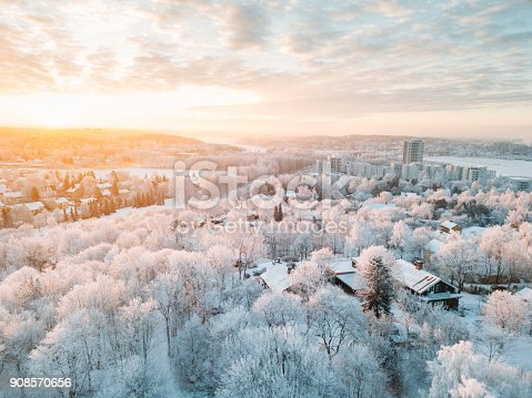 Idyllic winter Turku city (Finland) sunrise with a frost on the trees