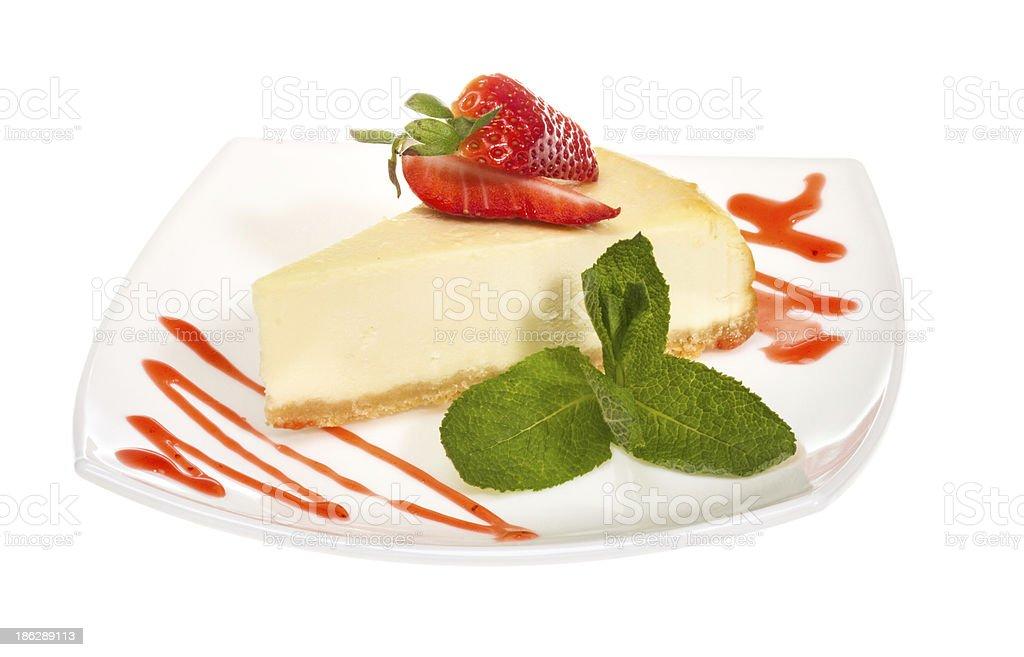 Зiece of strawberry cheesecake on whit stock photo