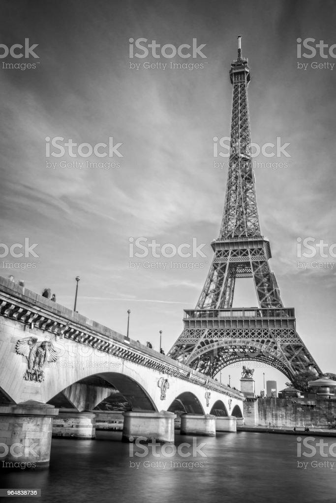Iena bridge and Eiffel tower, black and white photogrpahy, Paris France royalty-free stock photo