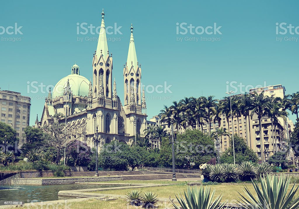 Se Cathedral in Sao Paulo stock photo